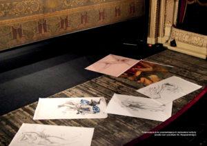Rozpoczęcie prac poprzedzających malowanie kurtyny (studia nad rysunkami St. Wyspiańskiego)