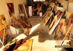 Przygotowania do malowania kurtyny (studia fragmentów kurtyny w skali 1:1)